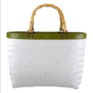 Kate spade white straw bag with bamboo handles